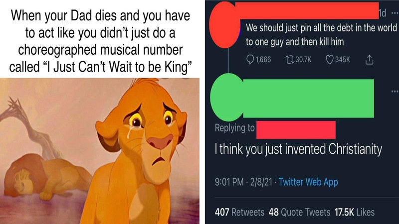 A dual image of the Lion King on the left and a Twitter post on the right.