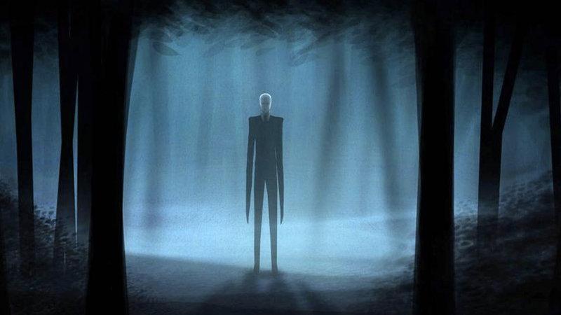 Artistic depiction of Slenderman, an internet horror figure.