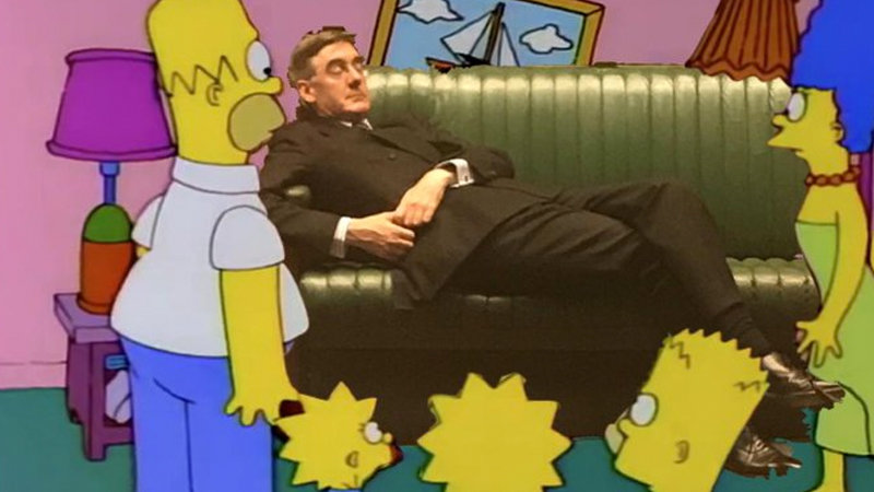 Slouching Jacob Rees-Mogg