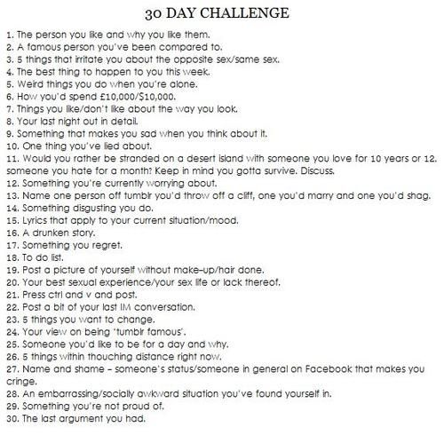30 day challenges know your meme