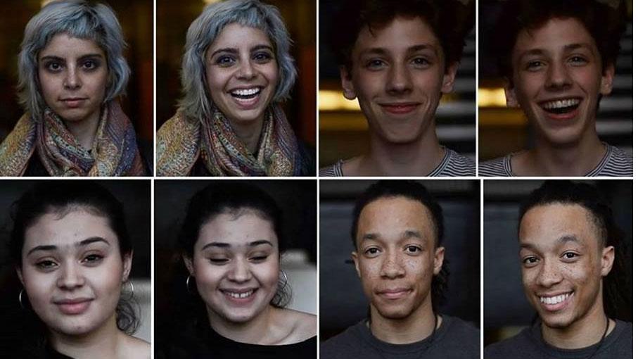 I volti di alcune persone prima e dopo che il fotografo gli dicesse di essere bellissimi