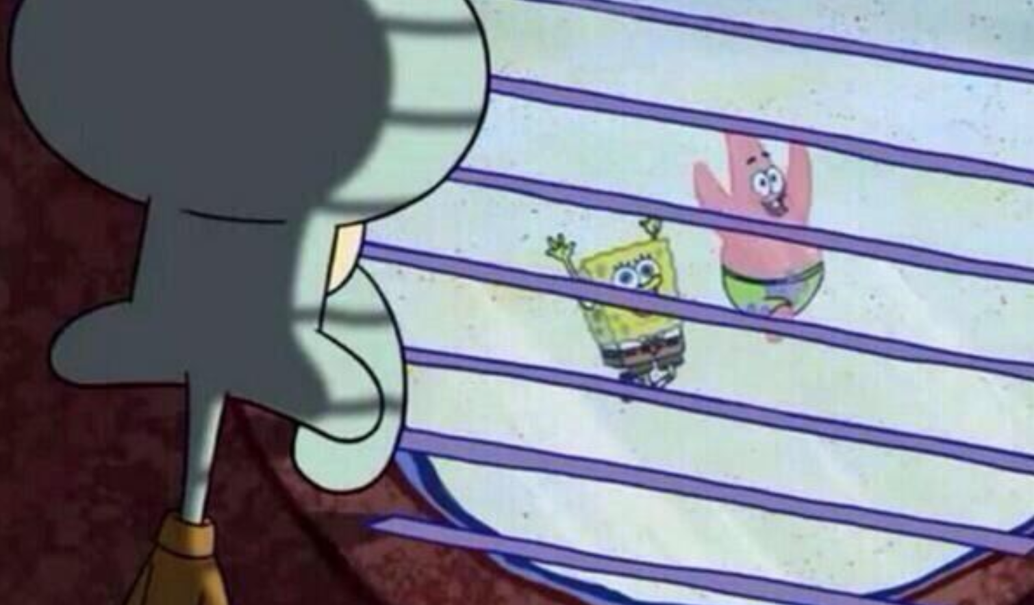 Squidward looking out the window