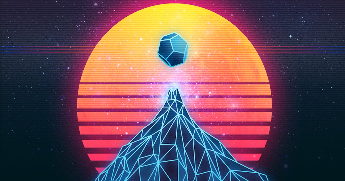 Retro 80s synthwave style poster.