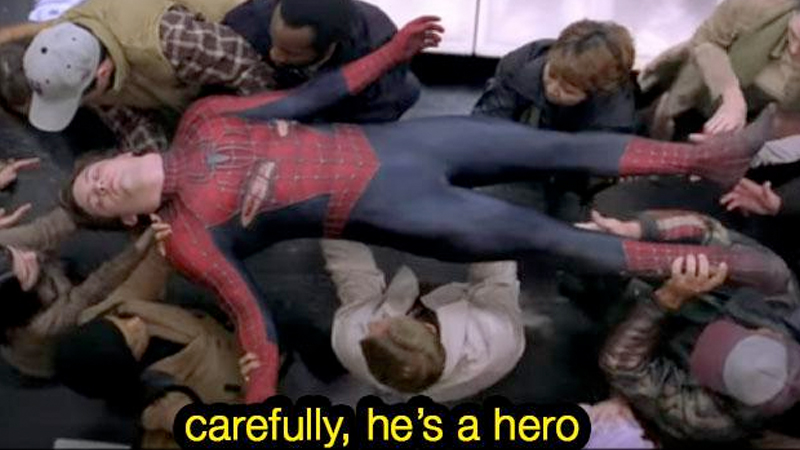 Carefully He's a Hero | Know Your Meme