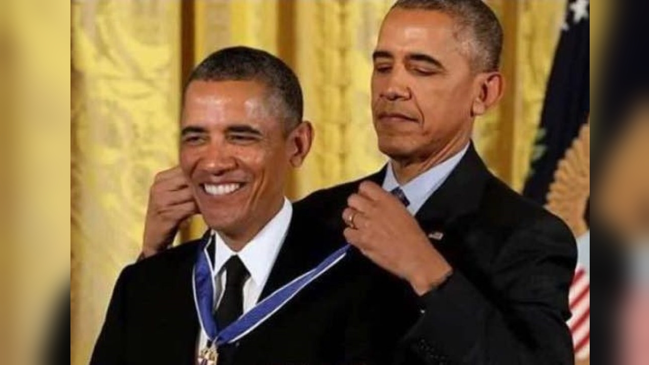 Image result for obama getting a medal