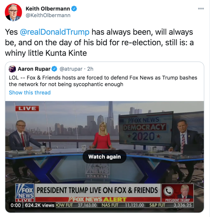 Keith Olbermann Calls Trump Whiny Little Kunta Kinte Know Your Meme Espn said it would suspend keith olbermann for the rest of the week in light of snarky remarks the popular broadcaster made on twitter about a pennsylvania state university fundraiser and some of. keith olbermann calls trump whiny