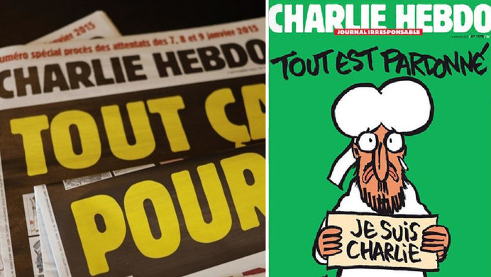 French Magazine Charlie Hebdo Republishes Cartoons Of The Prophet Mohammed As Trial Begins Know Your Meme