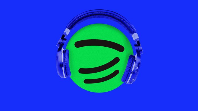 spotify logo wearing headphones