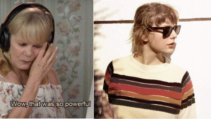 A picture of an elders react screenshot put side-by-side with the album art to Taylor Swift's new version of Wildest Dreams.