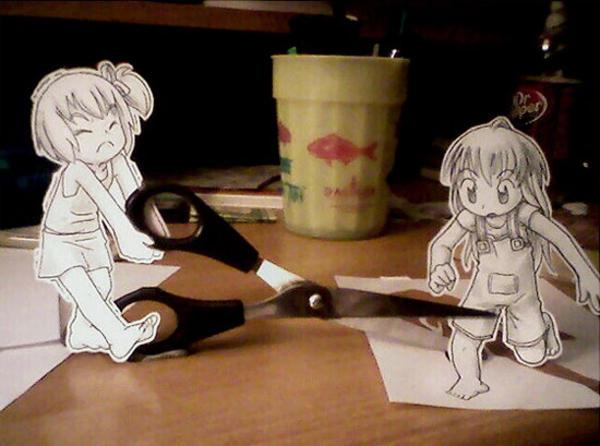 Объемные рисунки аниме