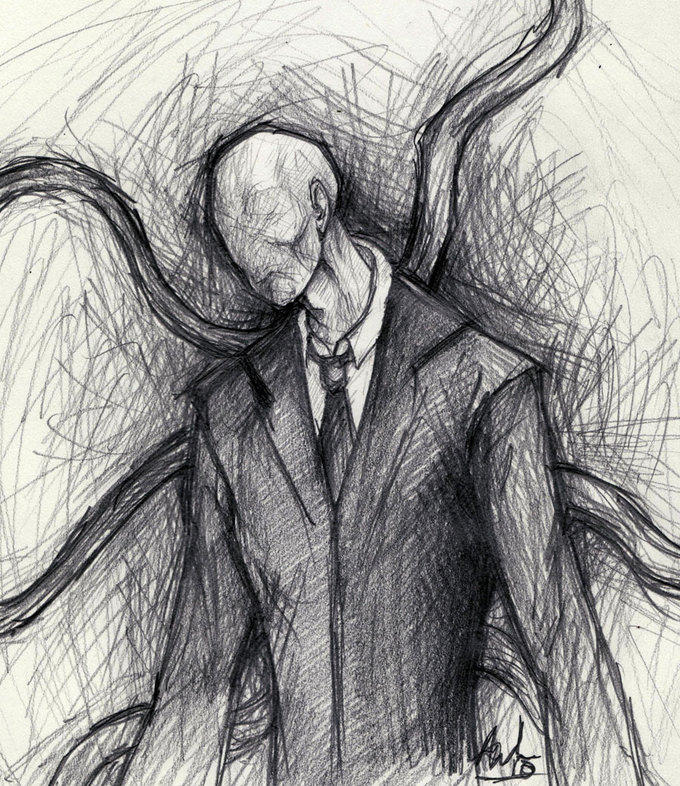 Pencil Drawing Slender Man Know Your Meme