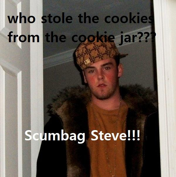 Who Stole The Cookie From The Cookie Jar Song Stunning The Cookie Jar Song Scumbag Steve Know Your Meme