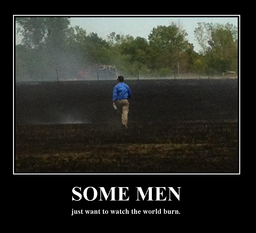 Some Men Burned Field Some Men Just Want To Watch The World