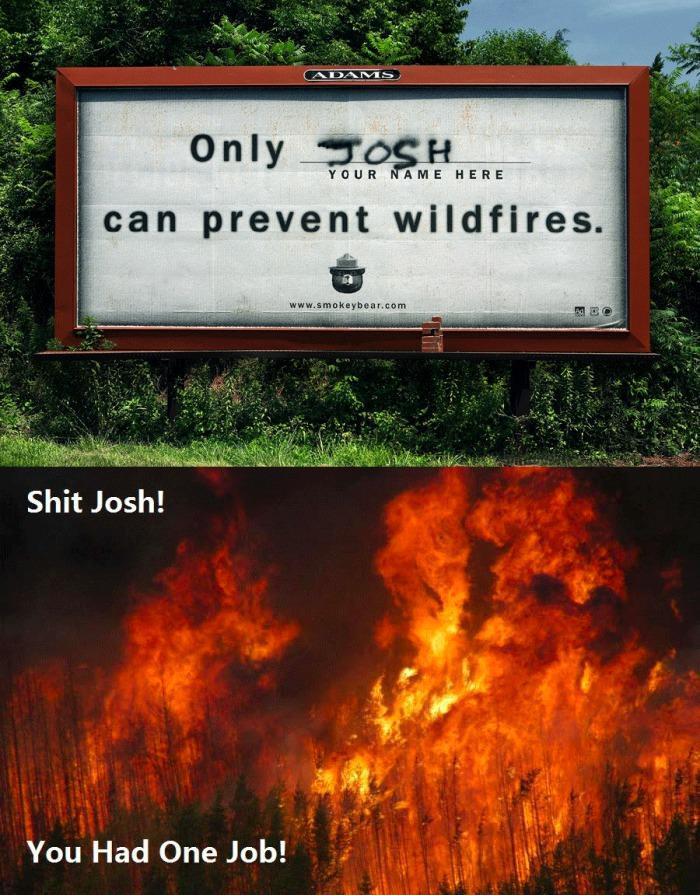 only josh can prevent wildfires you had one job know your meme