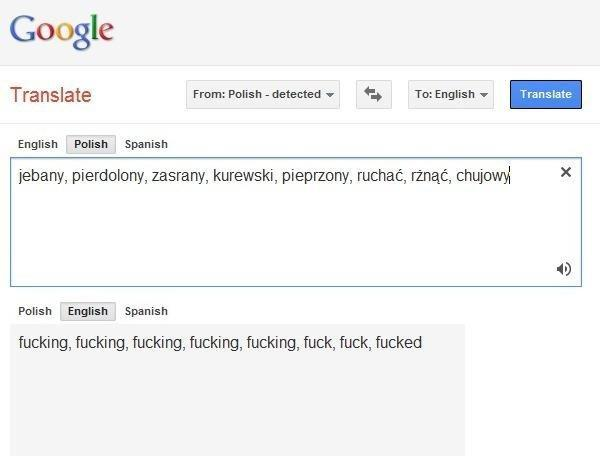 Google Translate From Polish Detected To English Spanish