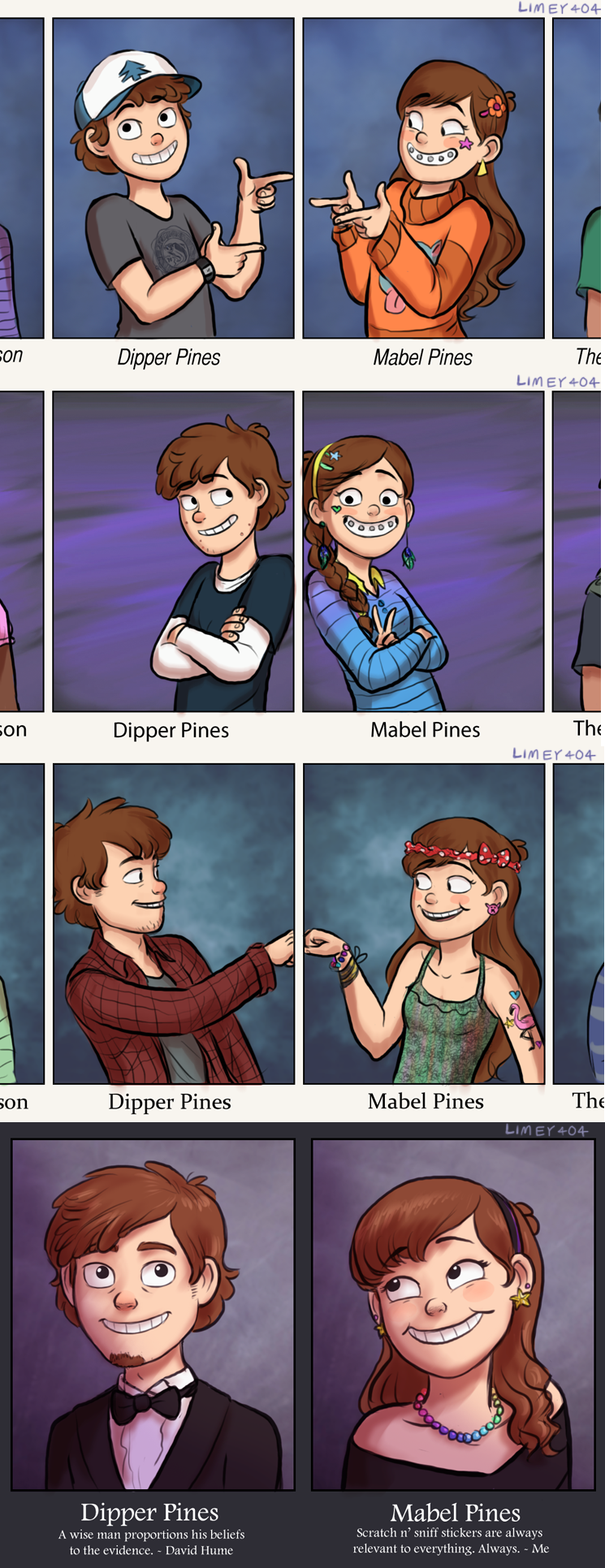 Dipper and Mabel's yearbook pictures | Gravity Falls | Know