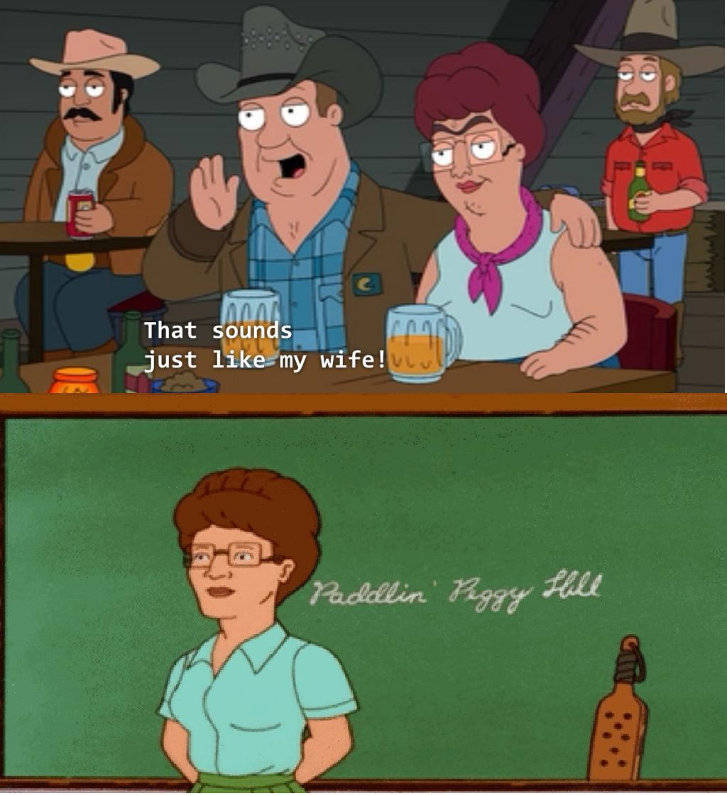 American Dad Wife peggy hill on american dad | king of the hill | know your meme