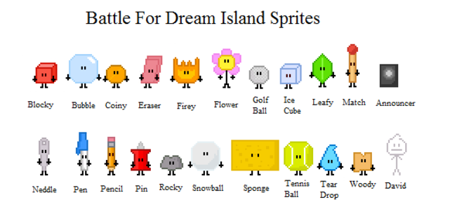 BFDI sprites | Battle for Dream Island | Know Your Meme