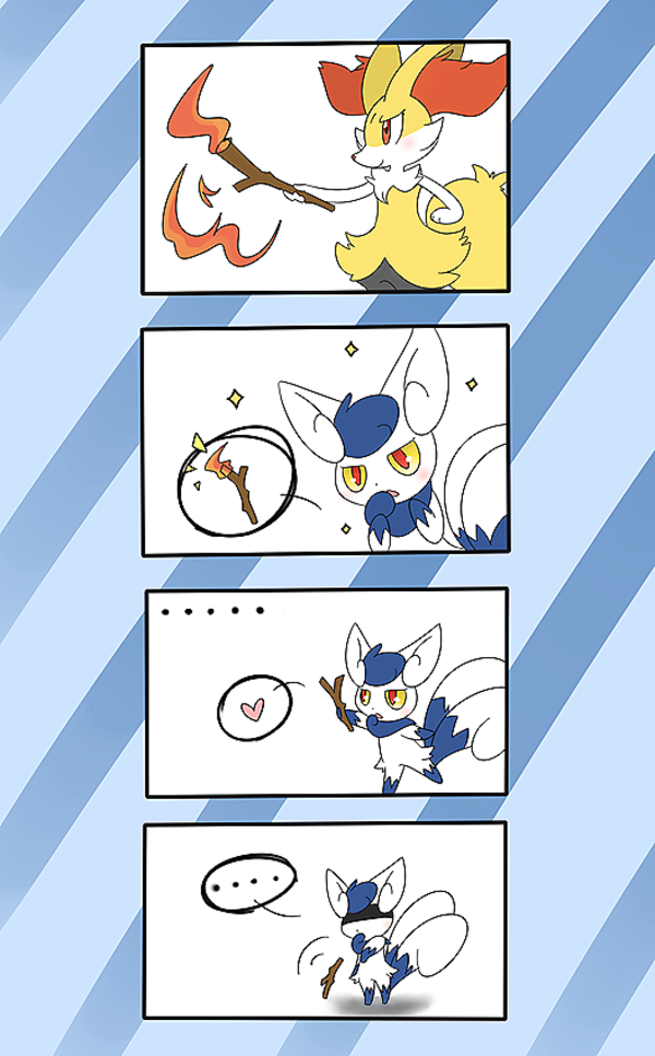 A Meowstic Trying To Be As Pretty As Braixen Pokemon Know Your Meme