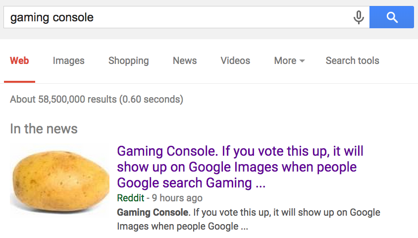 Gaming Console  If you vote this up, it will show up on Google