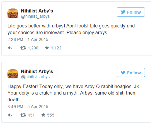 life goes better with arby s april fools nihilist arby s know