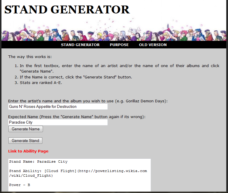 So apparently there's a stand generator | JoJo's Bizarre Adventure