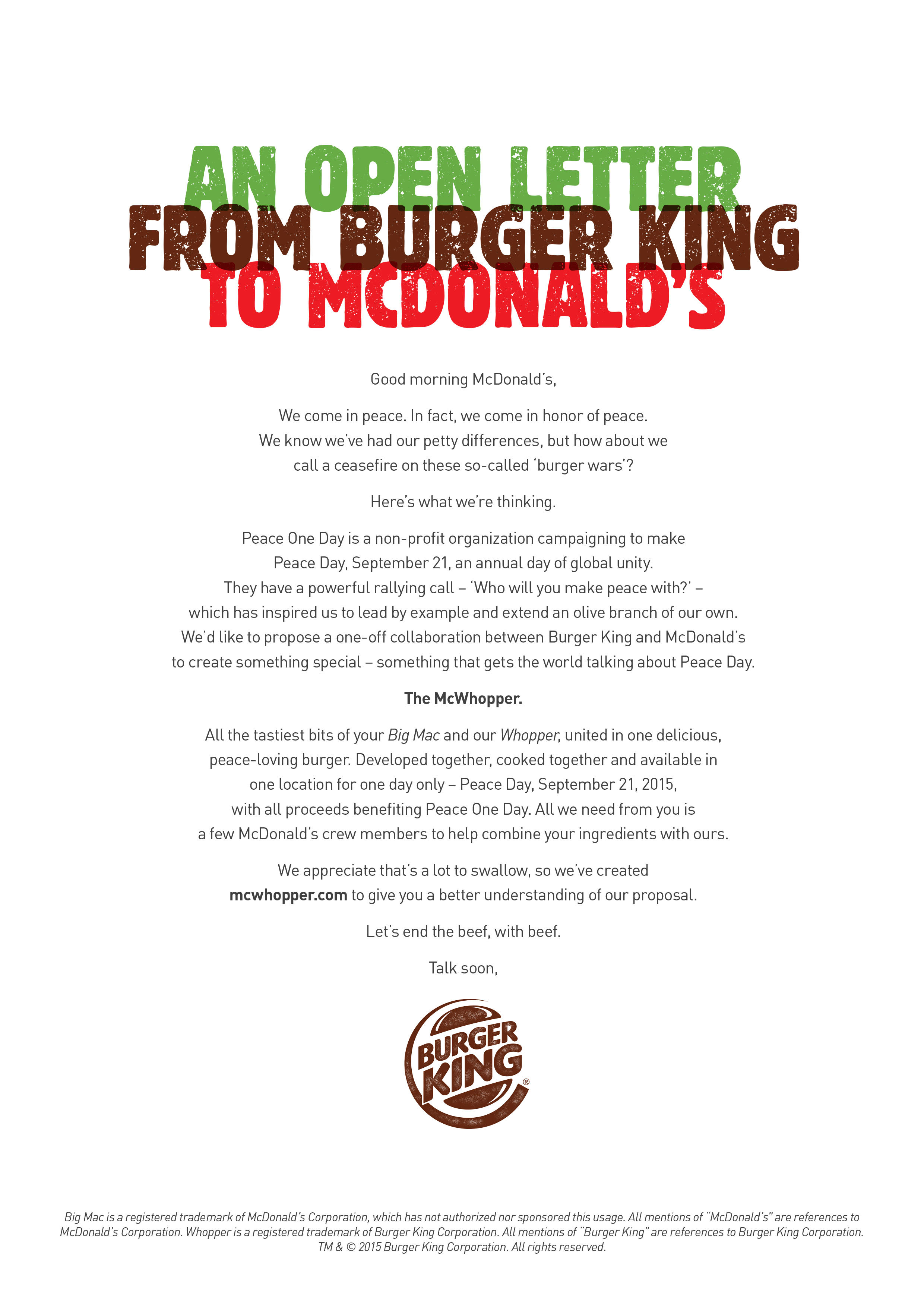 An Open Letter From Burger King to McDonald\'s   Peace Day Burger ...