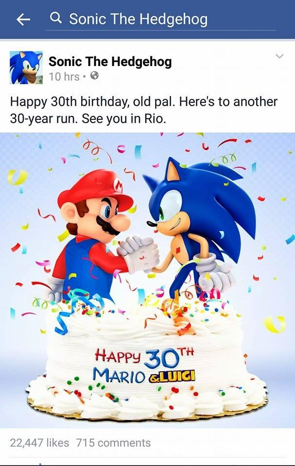 The Official Sonic The Hedgehog Facebook Page Wishes Mario A Happy 30th Birthday Sonic The Hedgehog Know Your Meme