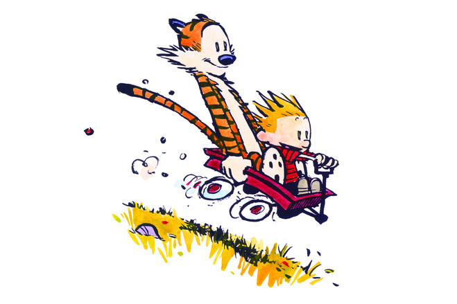 Image result for calvin and hobbes wagon