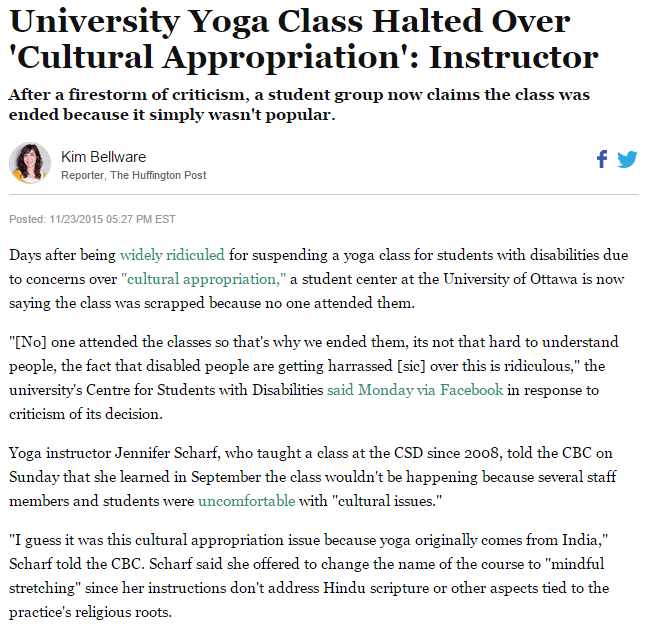 University Yoga Class Halted Over Cultural Appropriation Cultural