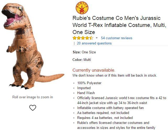 Rubieu0027s Costume Co Menu0027s Jurassic World T-Rex Inflatable Costume Multi One Size  sc 1 st  Know Your Meme & Rubieu0027s Costume Co Menu0027s Jurassic World T-Rex Inflatable Costume | T ...