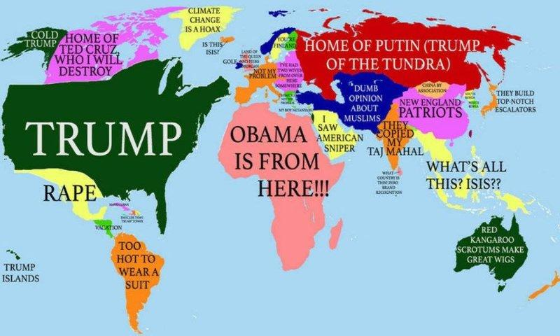 Donald Trump's World Map | Donald Trump | Know Your Meme