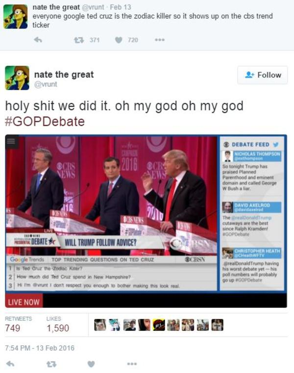 Vrunt Tweet Ted Cruz Zodiac Killer Know Your Meme