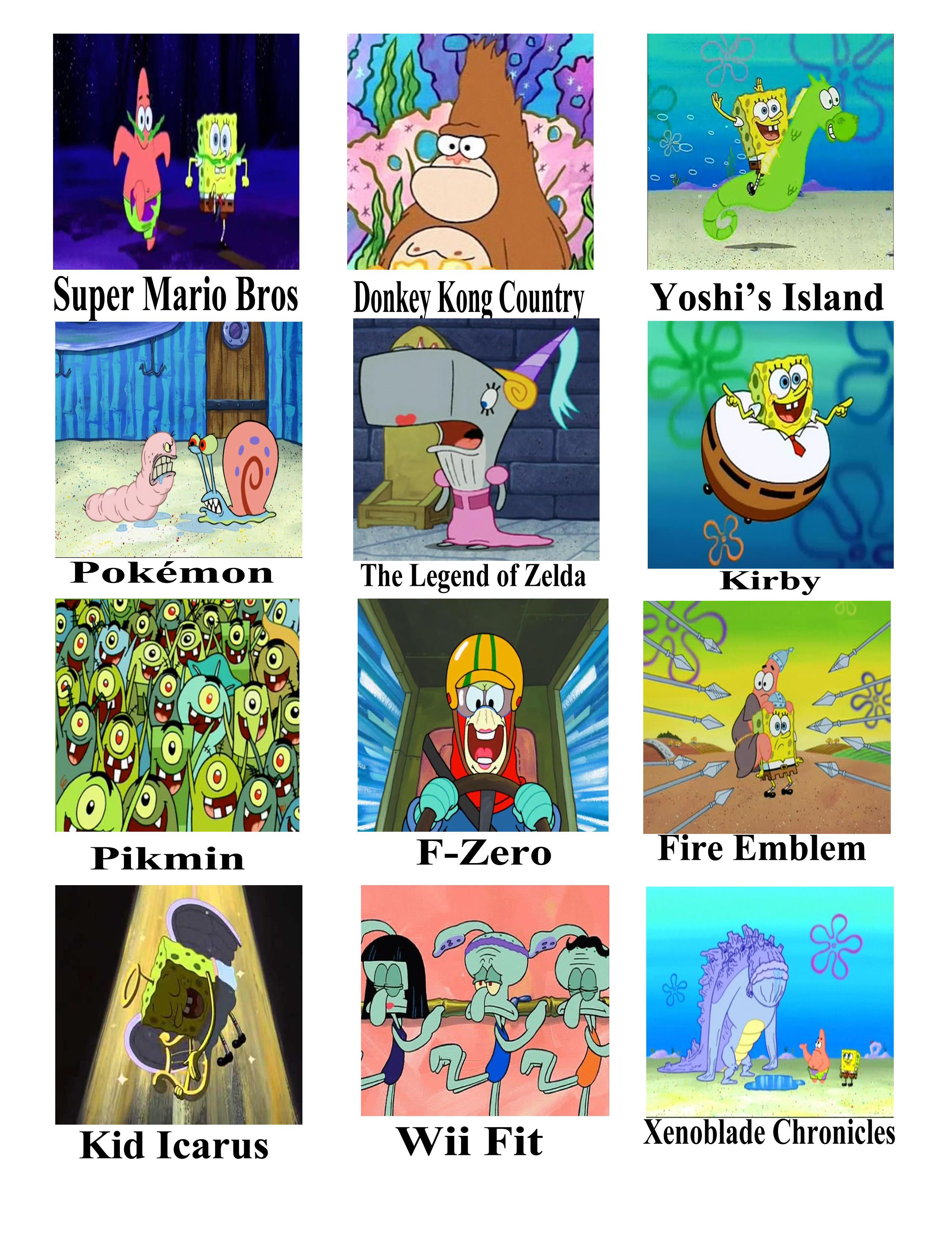 Spongebob As Nintendo Franchises Spongebob Comparison Charts