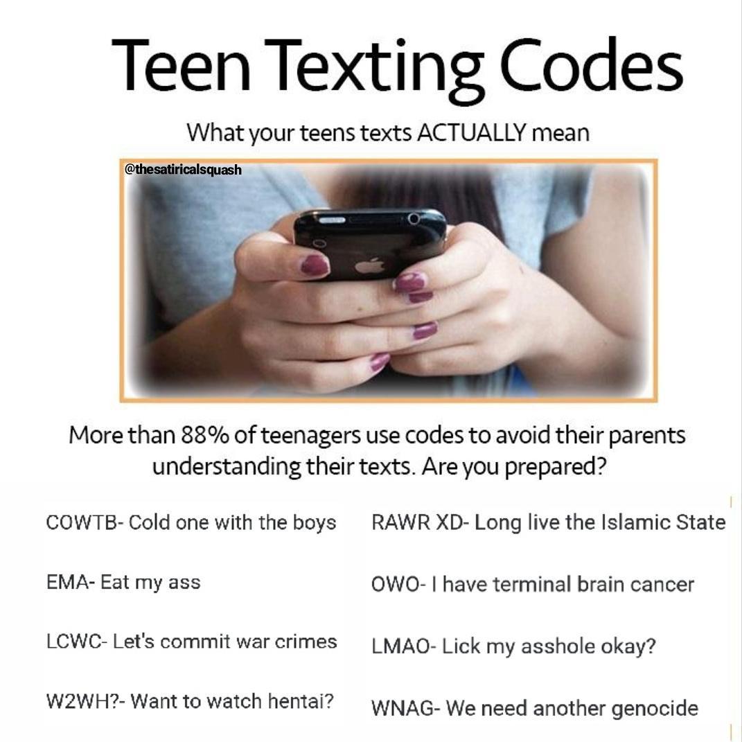 Teen text lingo