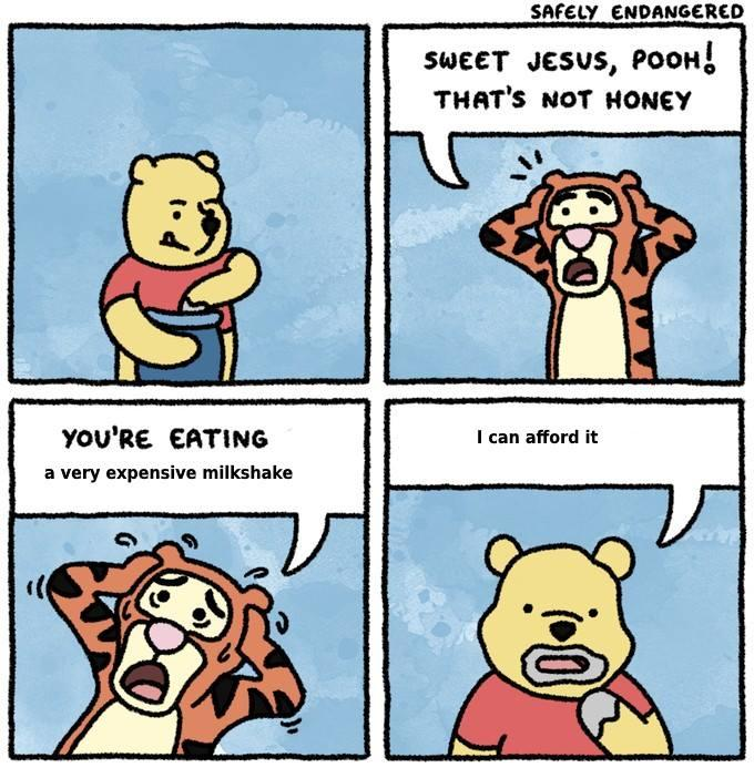 sweet jesus pooh very expensive milkshake know your meme