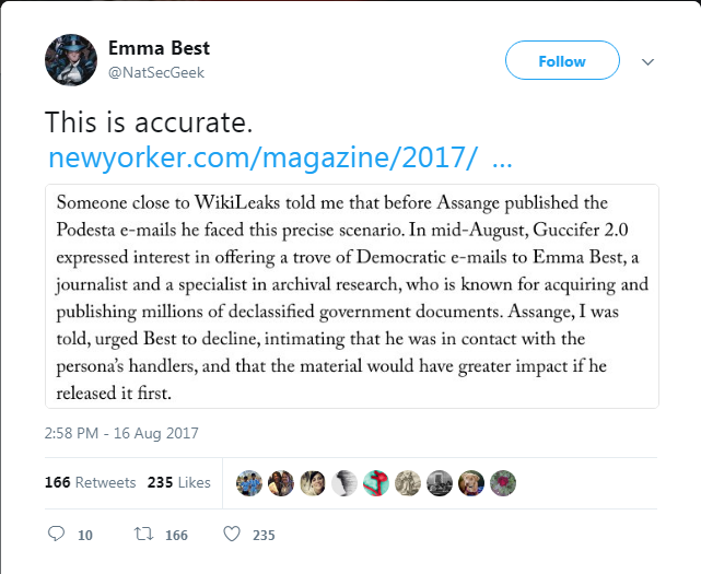 Emma Best confirms Wikileaks and Guccifer 2 0 coordinated Podesta