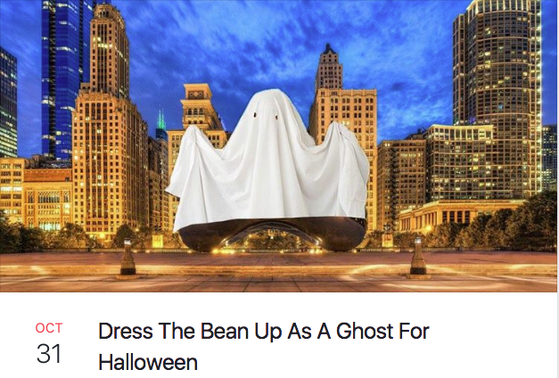 dress the bean up as a ghost for halloween chicago bean facebook