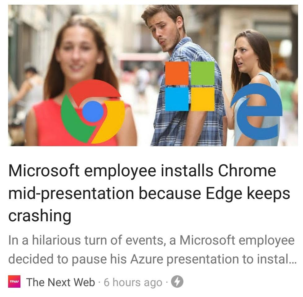 Microsoft employee installs Chrome mid-presentation because