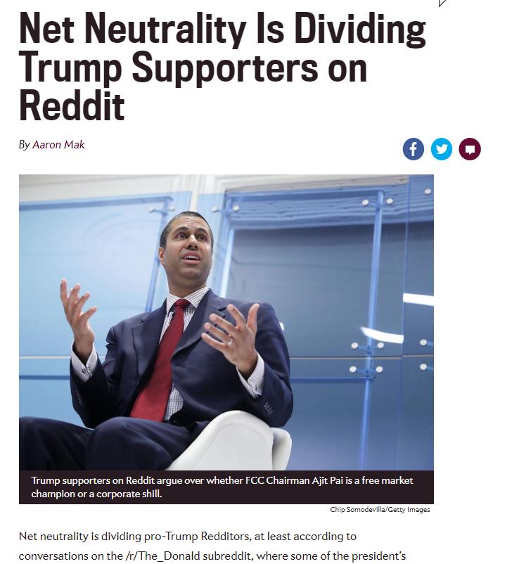 Net Neutrality Is Dividing Trump Supporters on Reddit | Net
