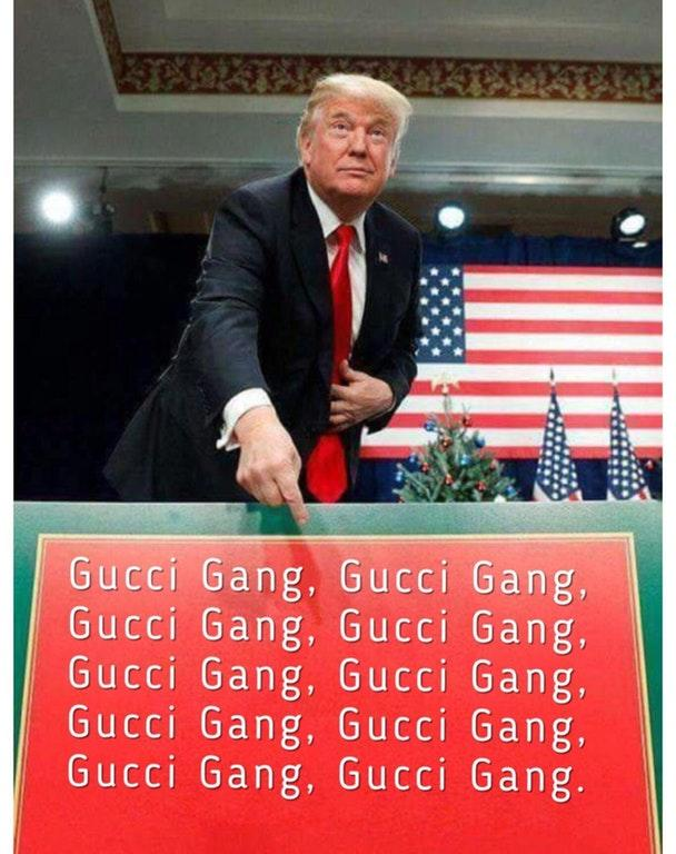 gucci gang donald trump merry christmas sign know your meme