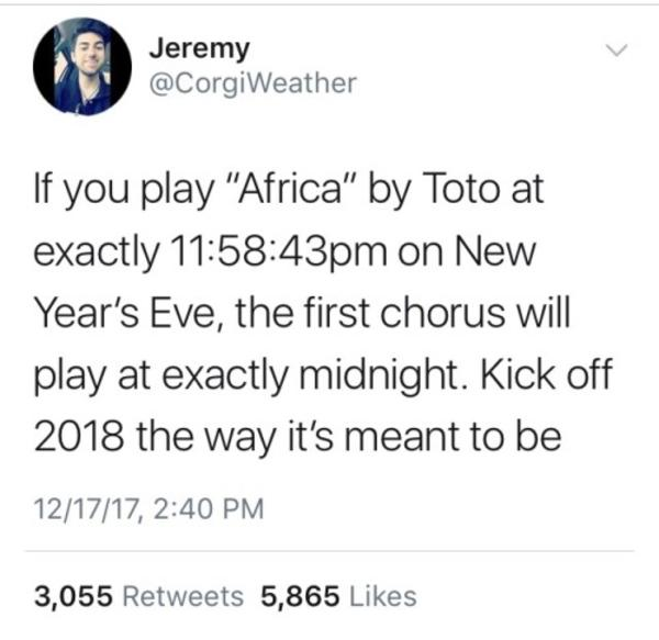 Africa   If You Play This Song On New Year\'s Eve   Know Your Meme