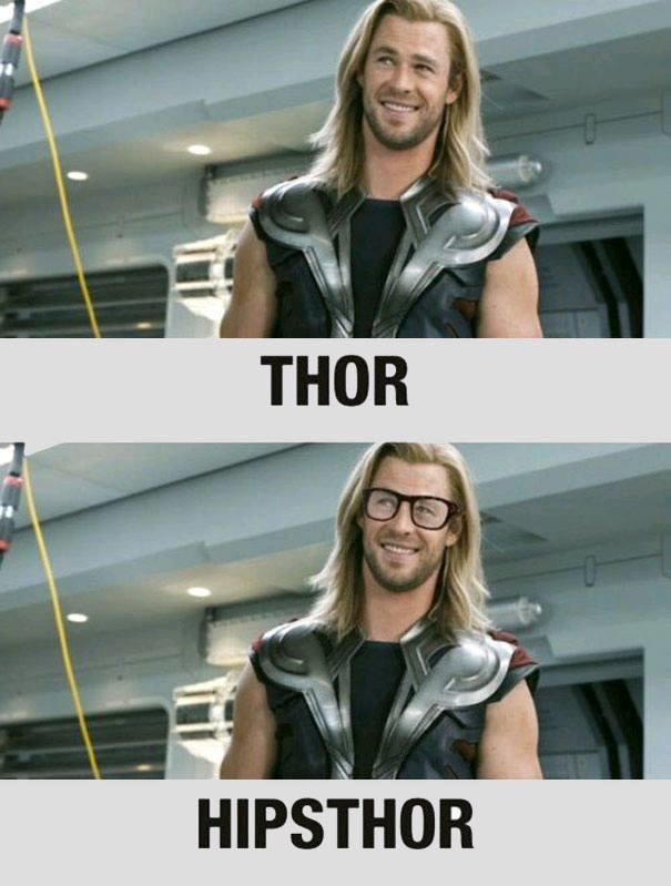 Thor and Hipsthor with hipster glasses | Name Puns | Know Your Meme