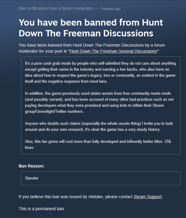 Steam Forum ban | Hunt Down the Freeman | Know Your Meme