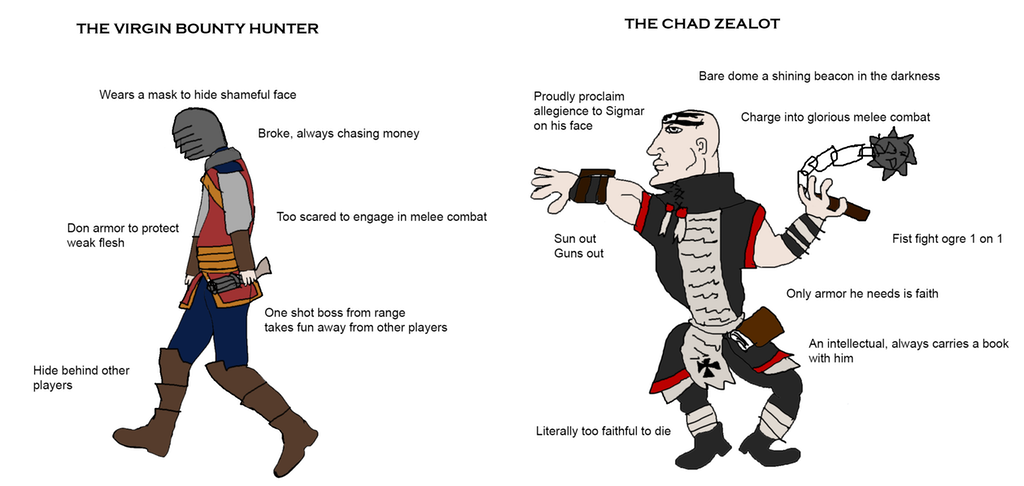 Two Ways To Play Saltzpyre By Terkmc Virgin Vs Chad Know Your Meme