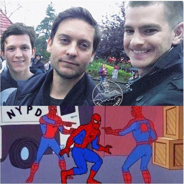 Image result for tobey maguire tom holland andrew garfield