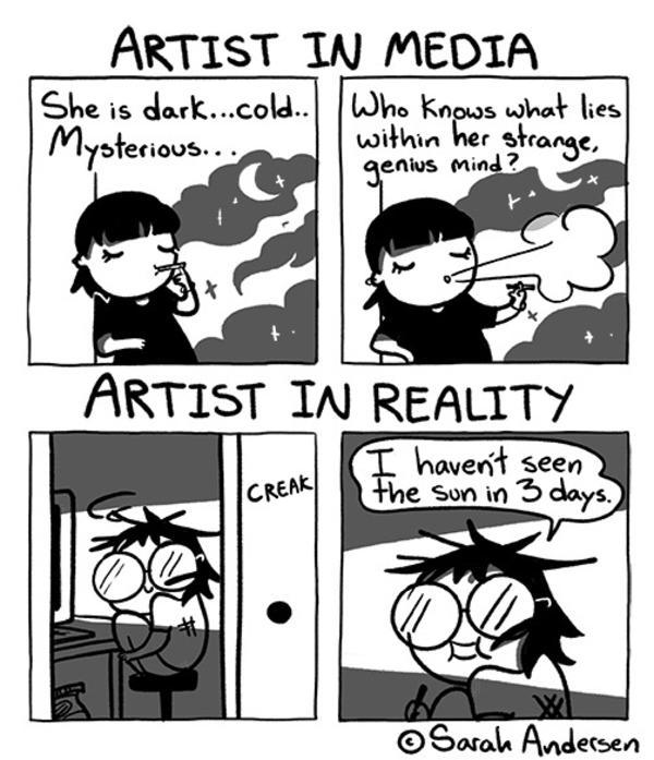 Artist In Media Vs Artist In Reality | Sarah's Scribbles | Know Your Meme
