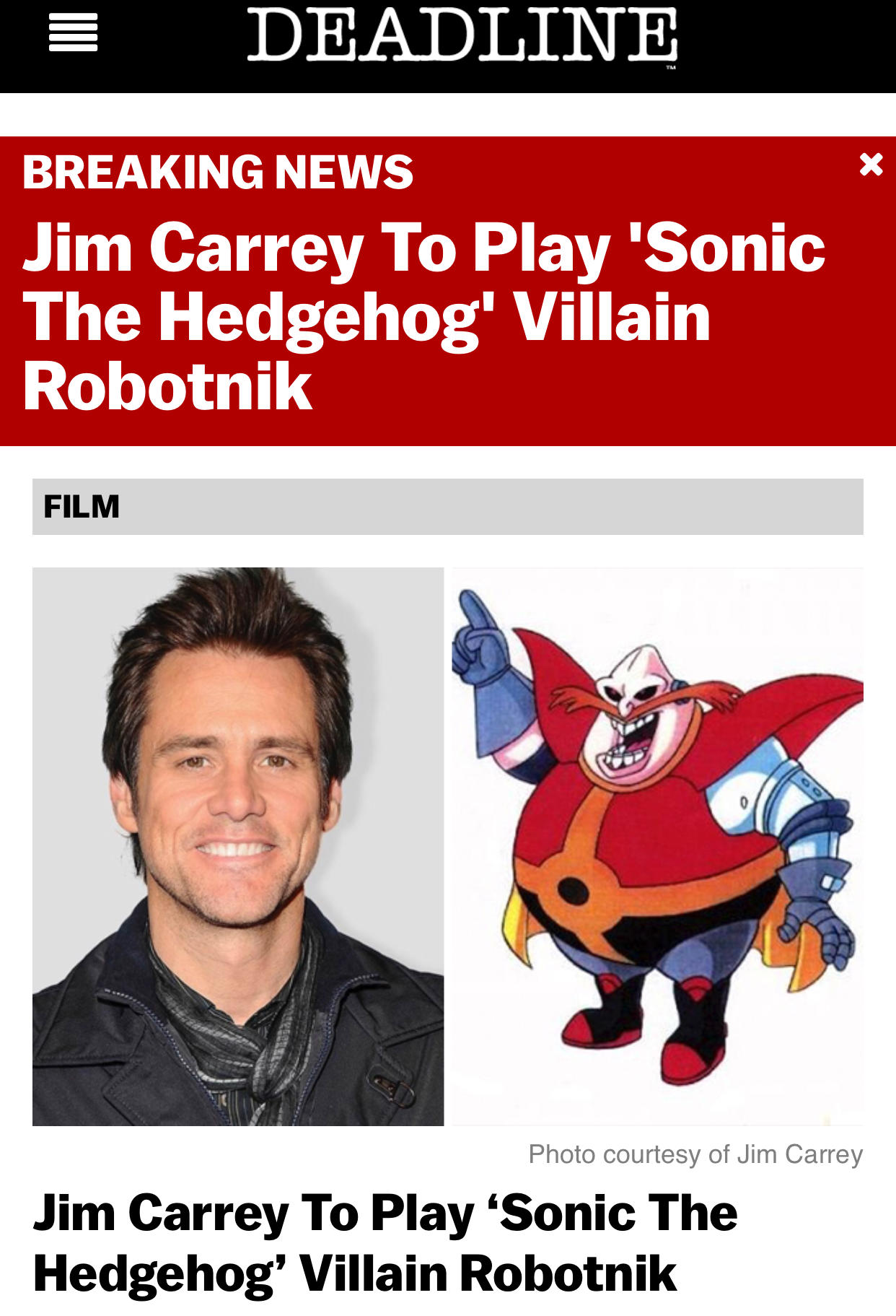Jim Carrey Casted As Dr Eggman In The Sonic Movie Sonic The Hedgehog Know Your Meme