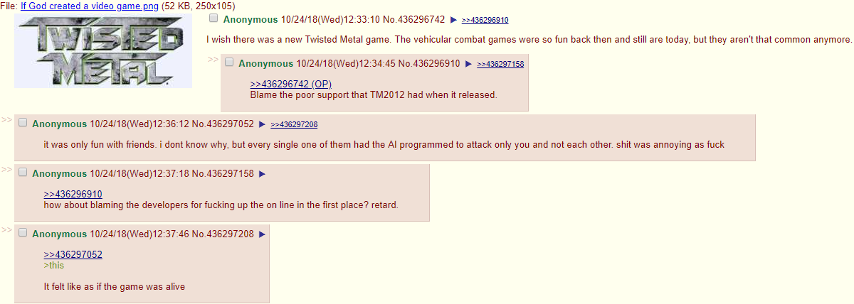 Anon wants wishes for a new Twisted Metal game | 4chan