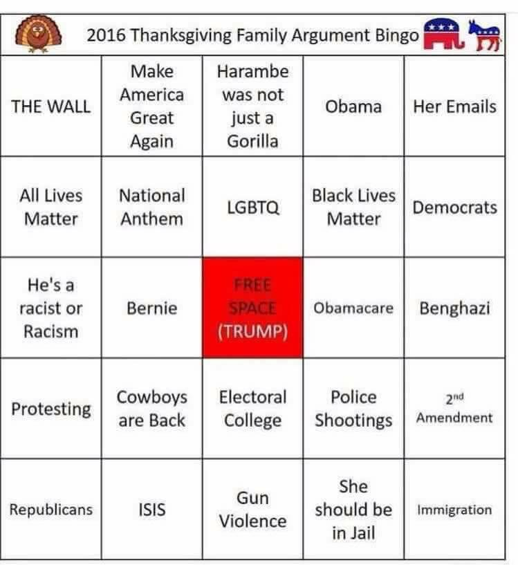 Thanksgiving Family Argument Bingo 2016 Thanksgiving Know
